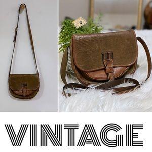 Vintage boho cowhide leather brown crossbody bag